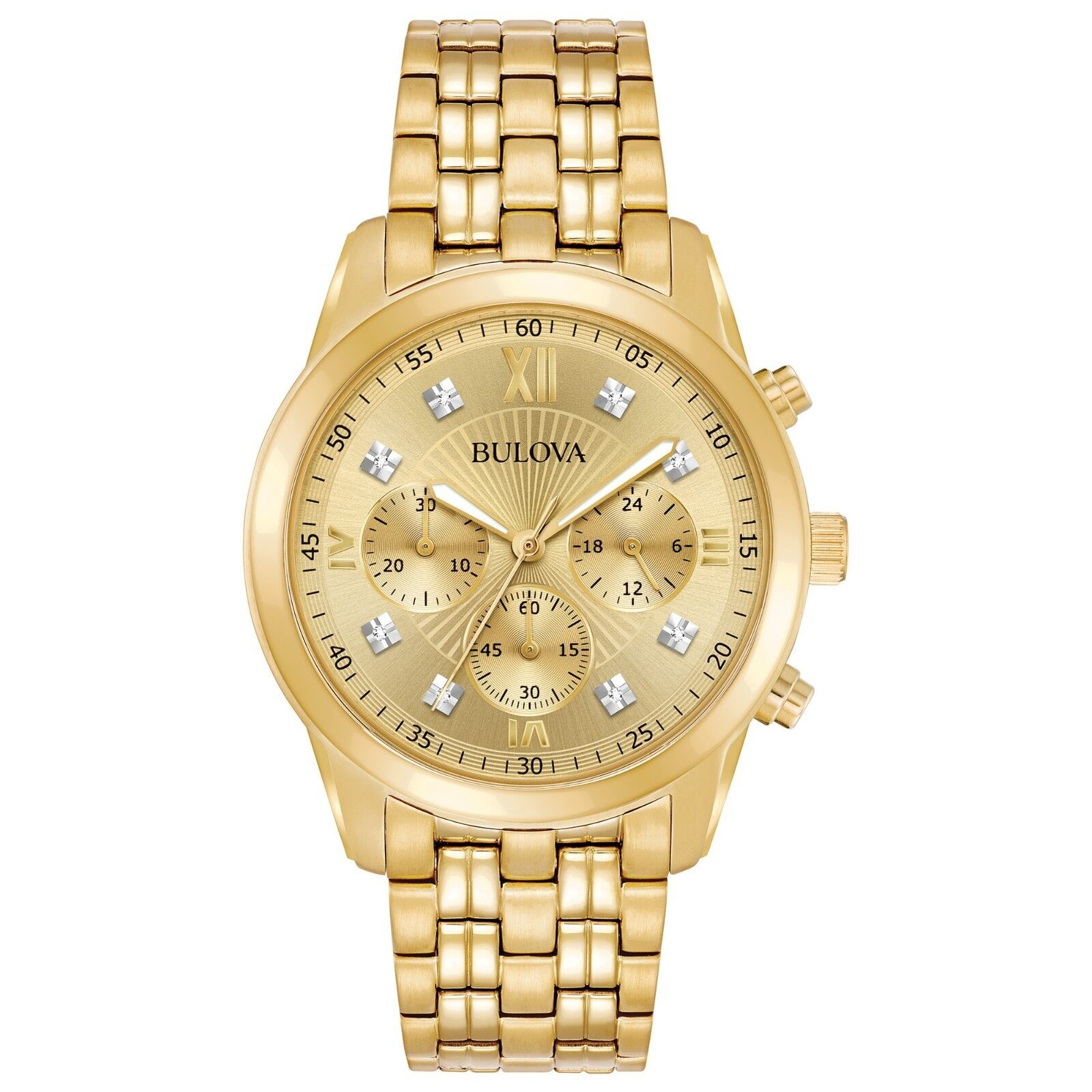 Bulova Men's 97D114 Chronograph Quartz Diamond Markers Gold-