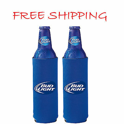 2 BUD LIGHT 16oz Beer SLIM BOTTLE Koozie Coolie Budweiser Water Can 12 CRUISE