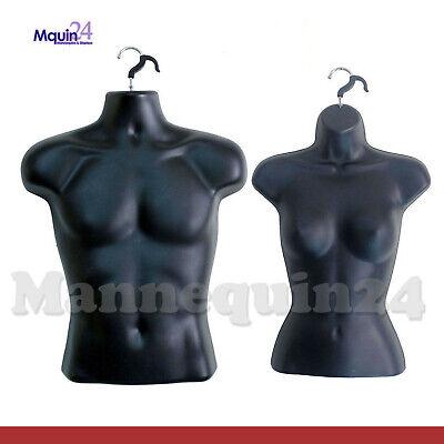 Black Mannequin Male Female Torso Set - 2 Plastic Dress Forms With 2 Hangers