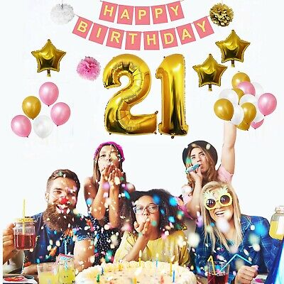 21 Party Decorations (21st Happy Birthday Decorations Set with Banner Pom Pom and Latex Foil Balloons)
