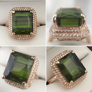 NEW- 14k Rose Gold 11.89 ct Tourmaline & Diamond Ring Appr $8370
