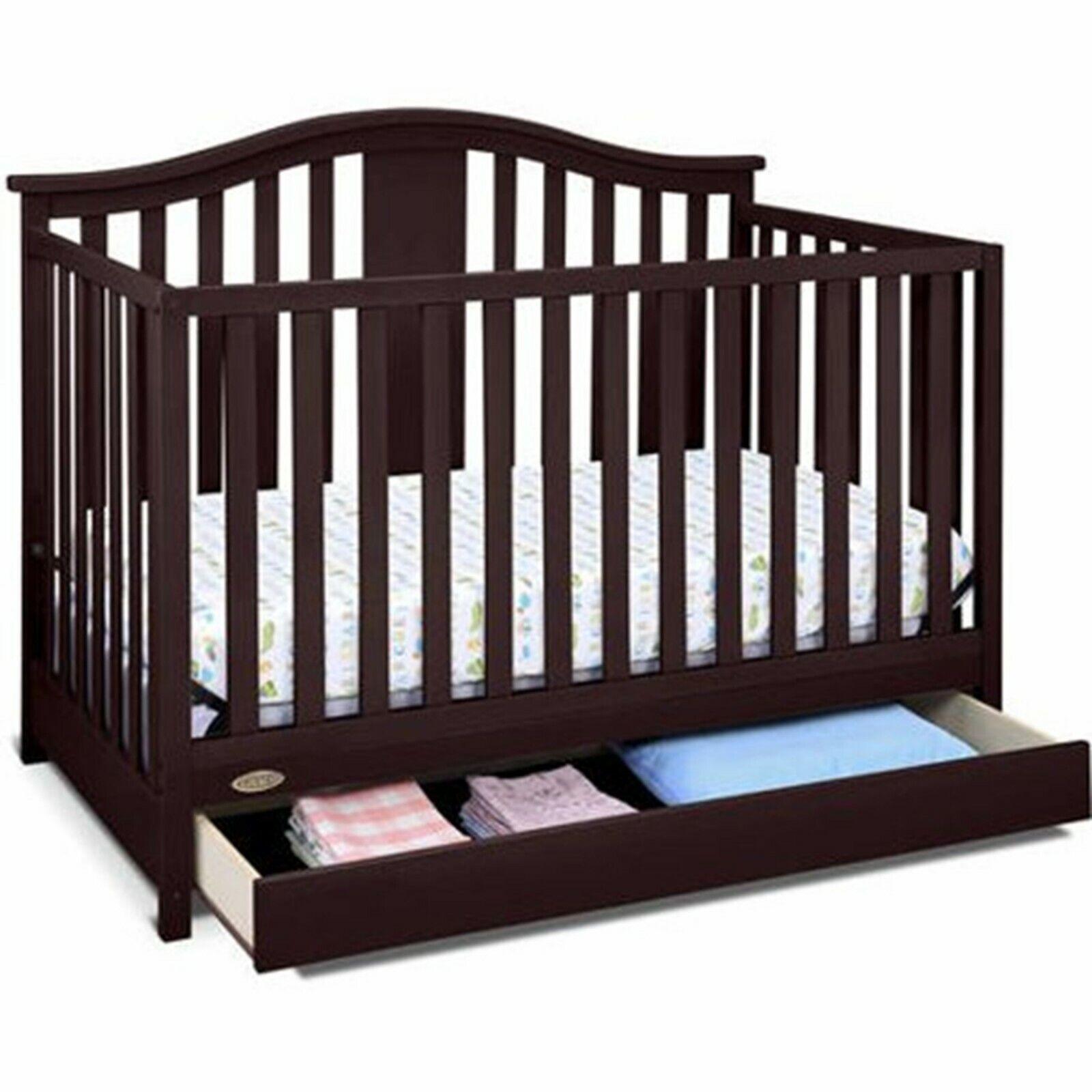 4-in-1 Convertible Crib with Drawer Kids Toddler Nursery Fur