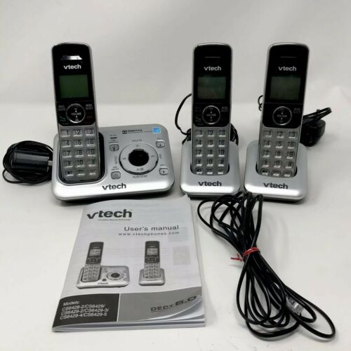 Vtech DECT CS6429-3 With 3 Cordless Handsets Answering System Caller ID - $37.46