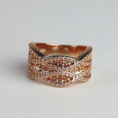 Champagne Gold (Champagne CZ Rose Gold Plated Women Fashion Statement Ring Size 5 6 7 8 9 10)