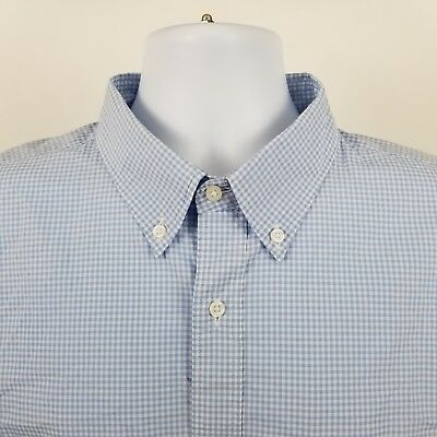 Mens L/s Mini (Uniqlo Mens Blue Mini Check L/S Dress Button Shirt Sz XL)