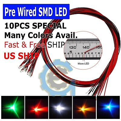 Dc 9-12v Pre-wired Smd Led Diode 0402 0603 0805 1206 Micro Mini White Light Lamp