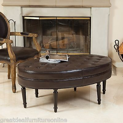 Elegant Oval Brown Leather Ottoman Coffee Table w/ Tufted Top