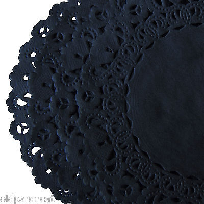 BLACK Hand Dyed LACE PAPER DOILIES || 4