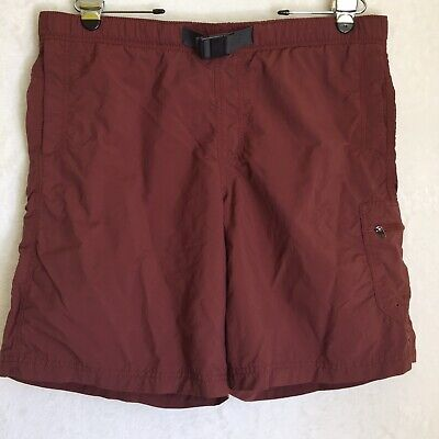 Columbia Belted athletic Hiking shorts  Maroon Color Men's Sz Large Light Weight Athletic Lightweight Belt