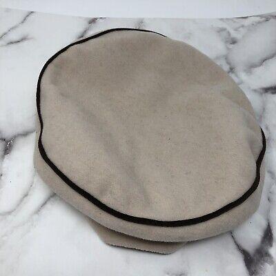 Rothschild Beret Hat Beige Black Piping Size 12 Wool Blend Rothschild Hat