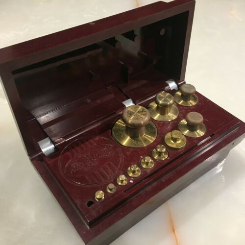 OHAUS STO-A-WEIGH Vintage Brass Calibation Weight Set - Fancy Case