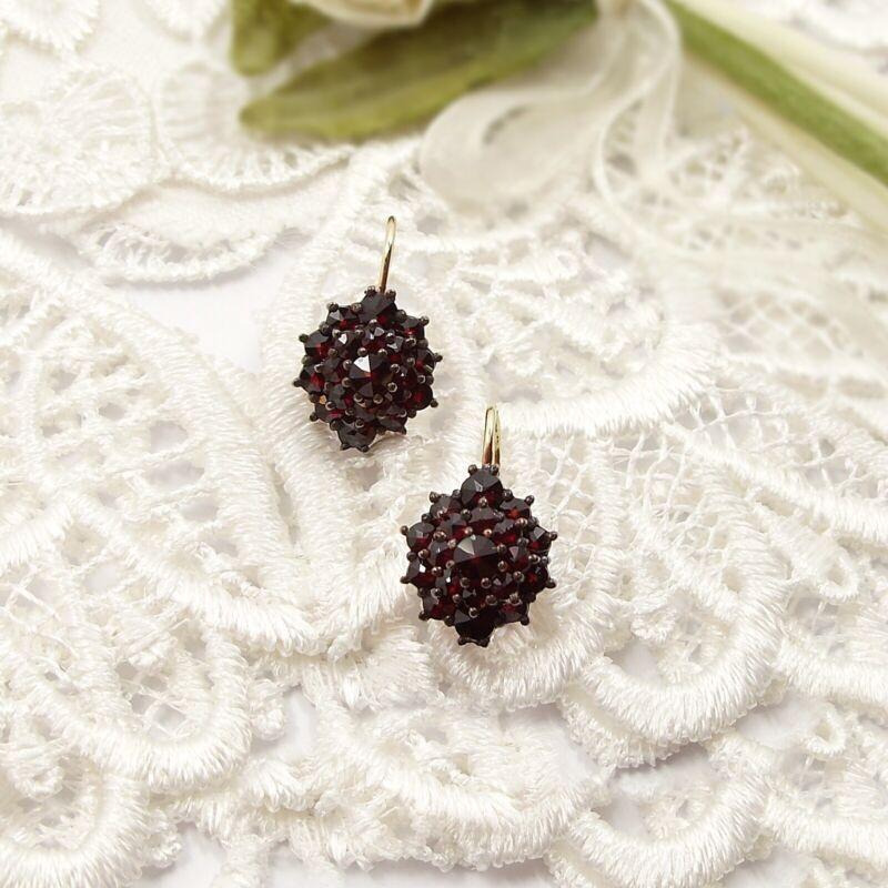 Beautiful round Bohemian garnet earrings w/14ct earwires ГРАНАТ 017