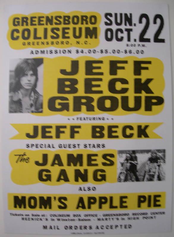 JEFF BECK JAMES GANG GLOBE CONCERT TOUR POSTER JOE WALSH