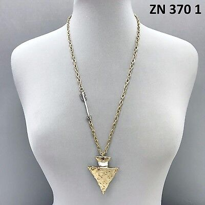 Gold Finished Uneven Surfaced Silver Wired Arrowhead Shape Pendant Necklace