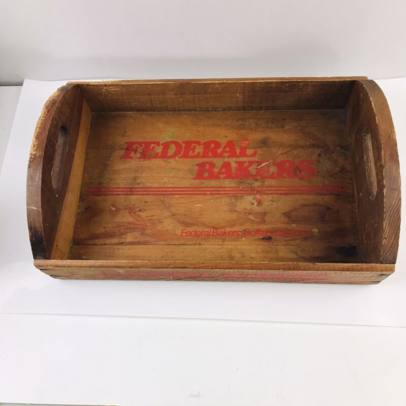Vintage Federal Bakers Buffalo New York Wood Tray