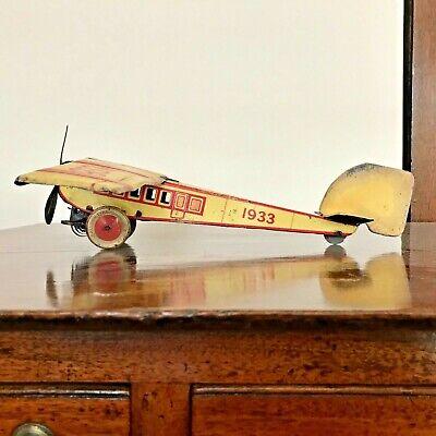 🛩️ Vintage 1930s METTOY 1933 Single Engine Tin Clockwork British Made Aircraft