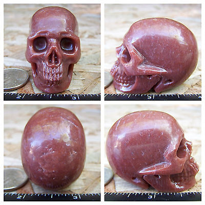 """2.02"""" Red Aventurine Skull Carved Stone 3.3oz 94.7g Crystal Healing Realistic"""