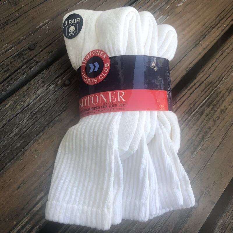 Vintage Isotoner White Cotton Socks 3 Pair Womens Sports Club New Deadstock