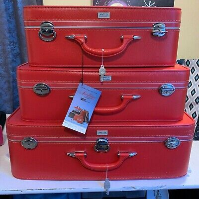 Set of 3 Matching Vintage Amelia Earhart Red Luggage Set W/Keys Red NEW Nesting