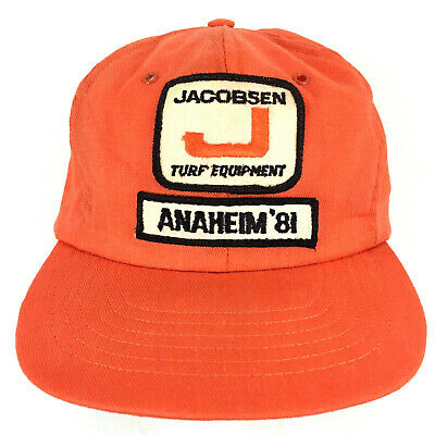 Vtg 80s Jacobsen Turf Equipment Patch Hat Farming Logo USA Snap Back Trucker Cap