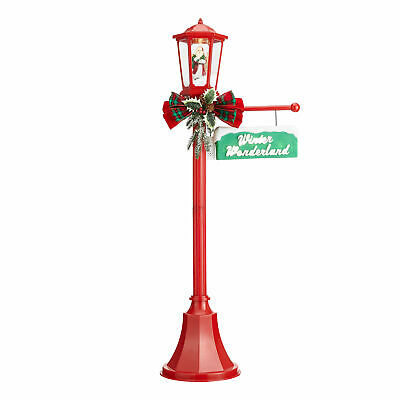 Holiday Time Snow Blowing Santa Light Up Lamp Post Indoor/Outdoor Christmas 56""
