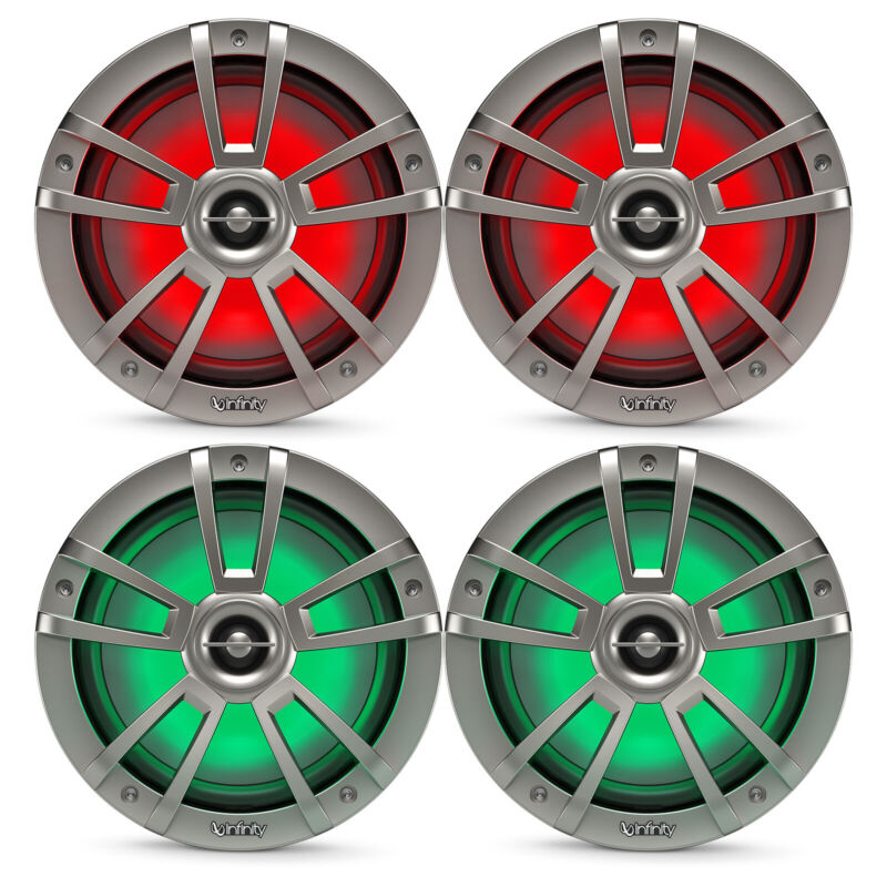 """4x Infinity Reference 8"""" Coaxial 450 Watt Marine Titanium Speakers With RGB LEDs"""
