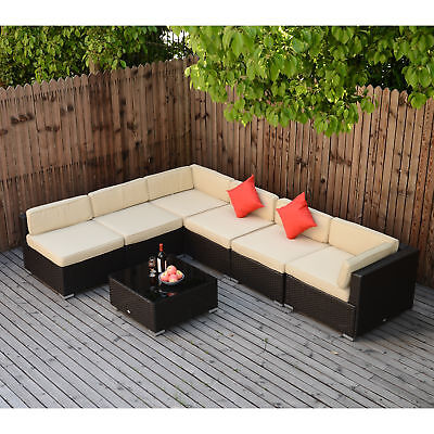 7PC Wicker Sofa Set Rattan Patio Furniture Table Chairs Cushioned Outdoor Patio