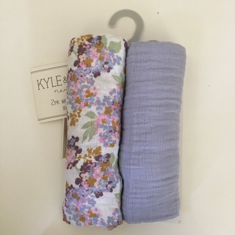 Kyle and Deena 2 Muslin Swaddle Wraps Purple and Floral