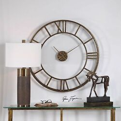 Hammered Forged Mylah Open Wall Modern Wall Clock Round Metal Contemporary 36