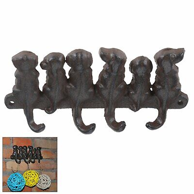 Cast Iron Door Wall Hook Dress Coat Key Hooks 6 Dog Tails Hanger Organiser Rack