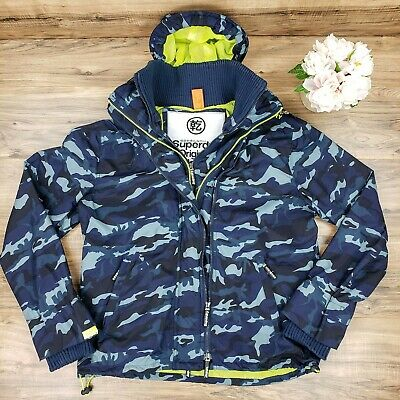 Superdry Original Windcheater Japan Sz XXL Men's Black & Blue Camo Rain Coat!