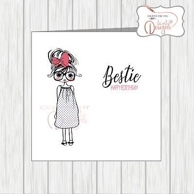 Bestie Birthday Card For Best Friend Cute Girl In Glasses & Oversized Hair