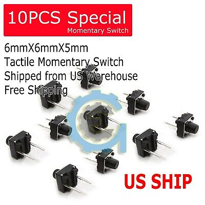 20pcs 6x6x5mm 2 Pin Pcb Momentary Tactile Tact Push Button Switch Dip Micro