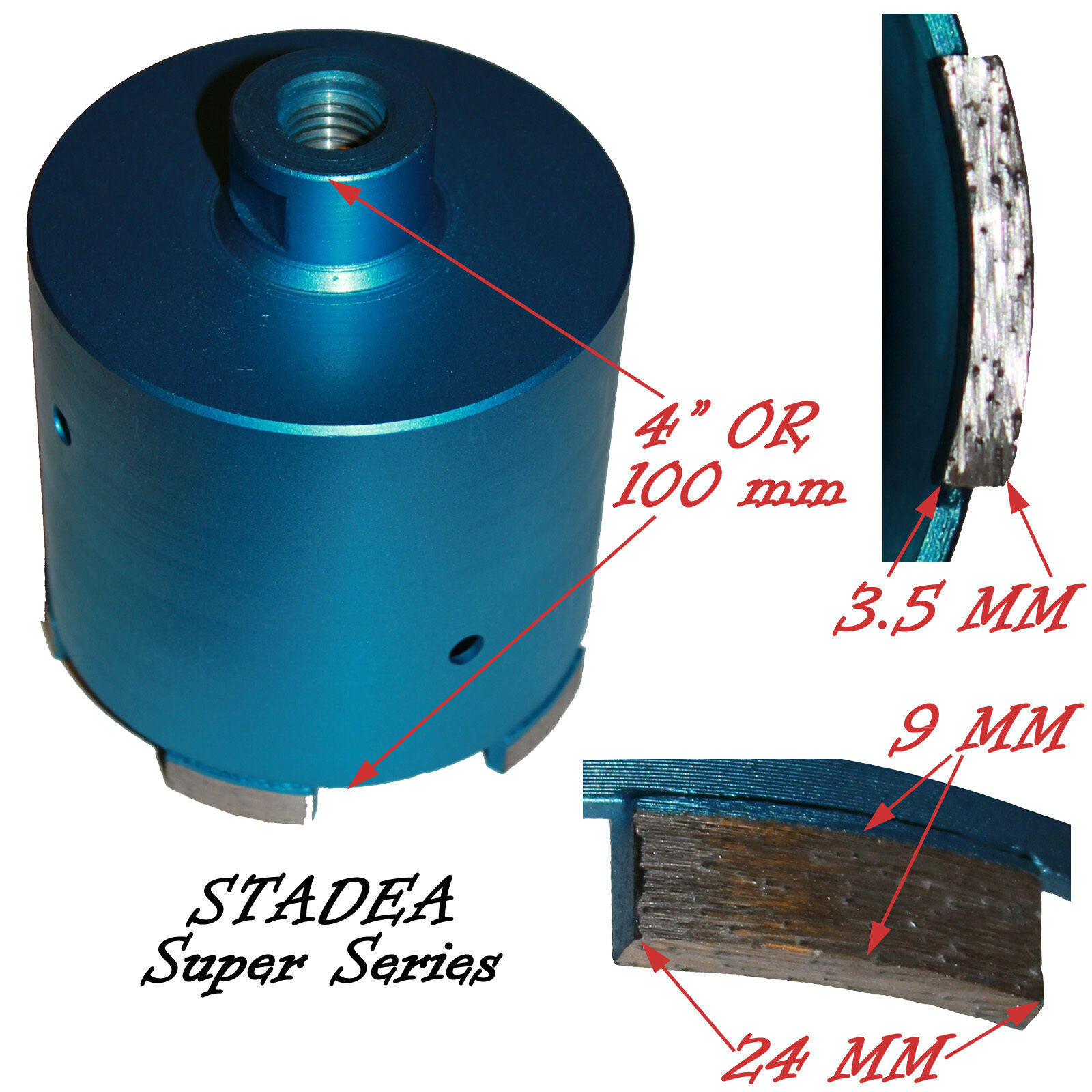 Stadea Concrete Tile 3 Inch Diamond Hole Saw Bit Core