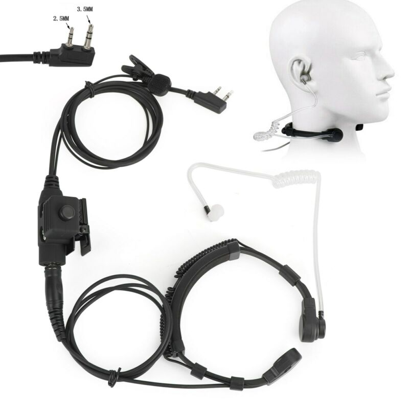 Throat Mic Microphone Headset Dual PTT for TK3207 TK3160 BaoFeng UV5R UV-82