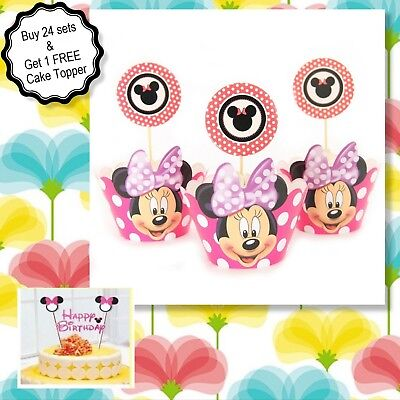Minnie Mouse Cupcake Wrappers ( MINNIE CUPCAKE  set (24)Cupcake Wrappers & (24 Toppers + 1 Cake topper)