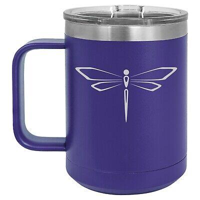 15oz Tumbler Coffee Mug Handle & Lid Travel Cup Vacuum Insulated Dragonfly