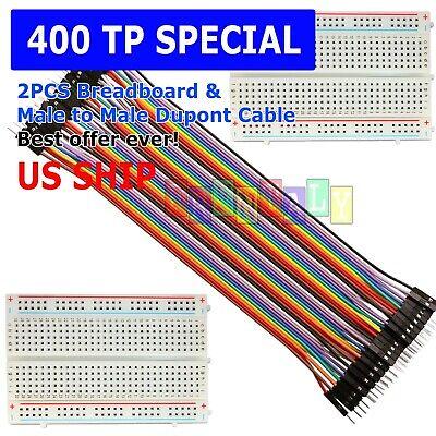 2x 400 Point Solderless Prototype Breadboard Protoboard40 Dupont 20cm M-m Wires