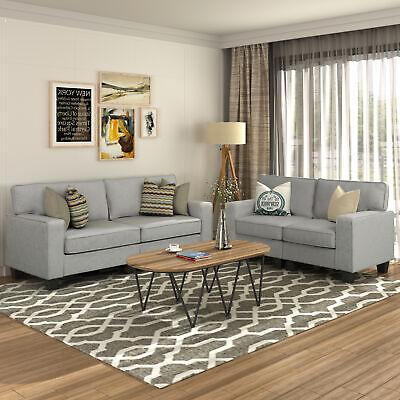 2 PCS Upholstered Loveseat Furniture Set Sectional Armrest Sofa Living Room Grey