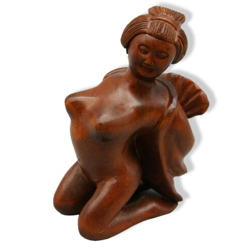 Hand Carved Japanese Boxwood Netsuke Stripping Lady Handy Wood Carving Figurine.