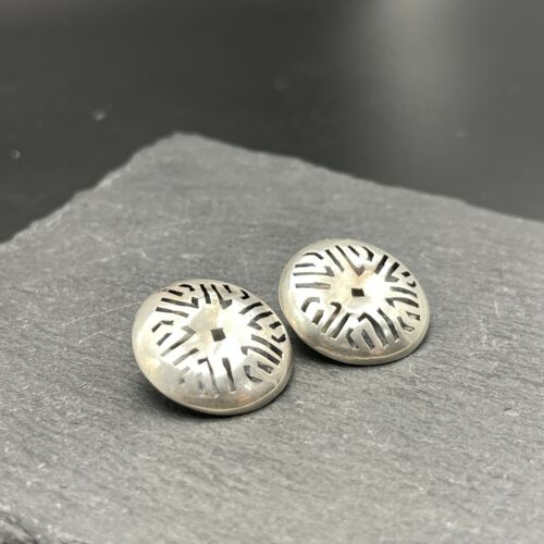 Vintage 925 Sterling Silver Clip on Earrings Hollow Circles Mexico