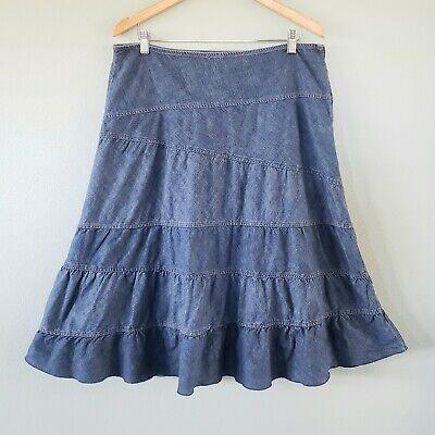 DKNY Jeans Womens Sz 12 Denim Prairie Midi Skirt A-line Flounce Modest Ruffle