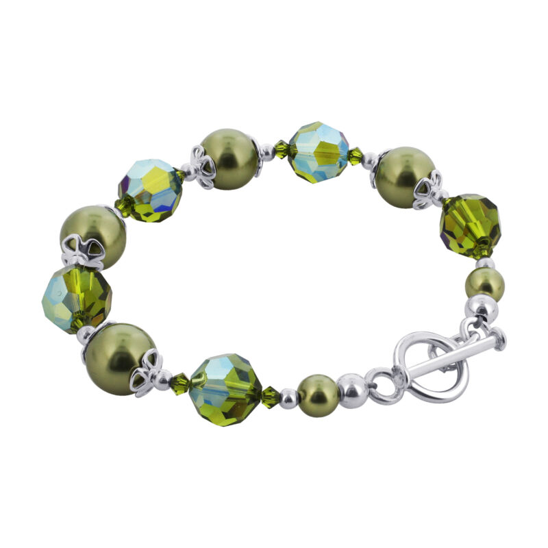 Made with Swarovski Elements Olive Simulated Pearl Crystal 925 Silver Bracelet