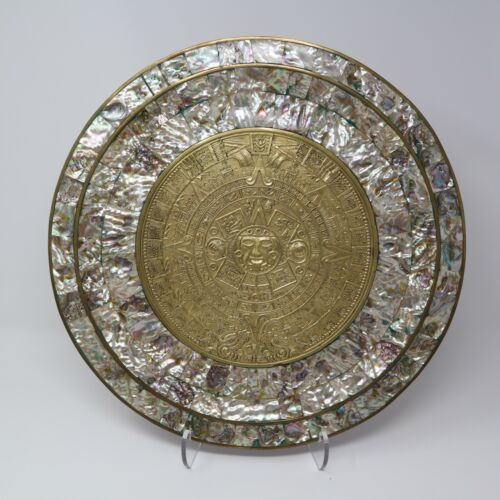 LARGE AZTEC MAYAN BRASS PLATE MOTHER OF PEARL ABALONE 15 1/2 INCH SUN CALENDAR
