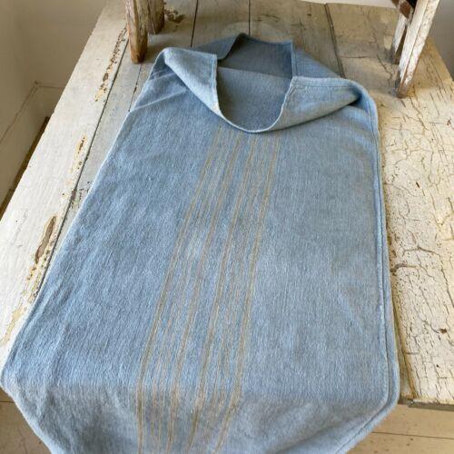 Dyed Blue Grain Sack Black Stripe Linen Fabric Rustic Grainsack Vintage hemp