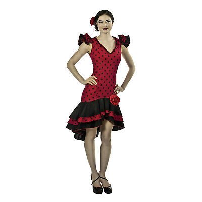 Adult Women's Spanish Dancer Tango Salsa Flamenco Polka Dot Costume Rose - Spanish Dancer Costumes