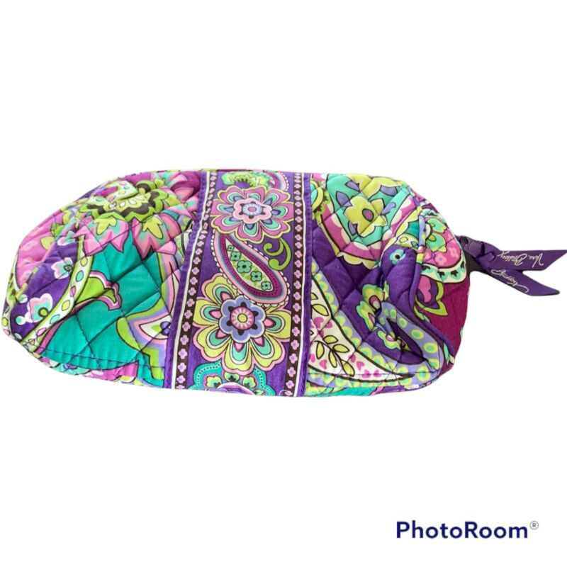 """Vera Bradley Zip Cosmetic Bag Lined Make-up Pouch Travel 6""""X10"""""""