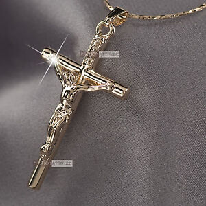 18k rose gold GF Jesus cross CRUCIFIX classic pendant necklace
