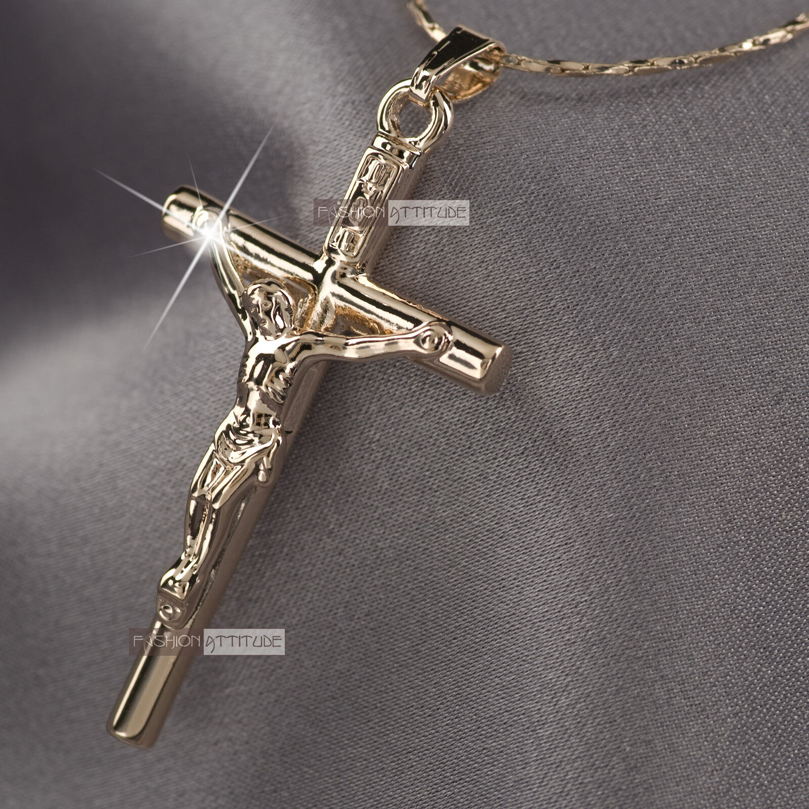18k rose gold gf jesus cross crucifix classic pendant free