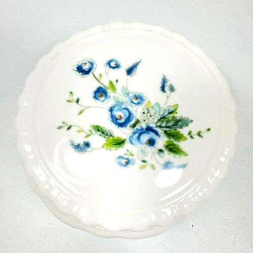 Coalport Lidded Trinket Box Tintern White Bone China Blue Flowers England VTG